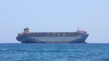 Freighter - big cargo boat — Stock Video