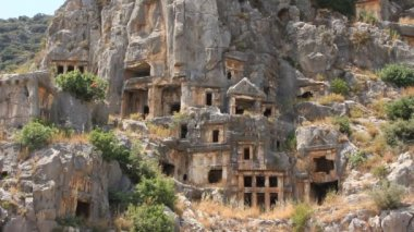 Rock-cut tombs of the ancient Lycian necropolis. Myra old name - Demre Turkey — Stock Video