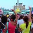 KIEV, UKRAINE, AUGUST 24, 2012: Dancing on holiday concert on Independence Square, dedicated to celebrating Independence Day in Kiev, Ukraine, August 24, 2012 — Stock Video