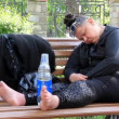 Fat woman sleep on a bench — Stock Video