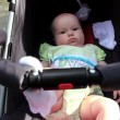 Baby in perambulator — Stockvideo