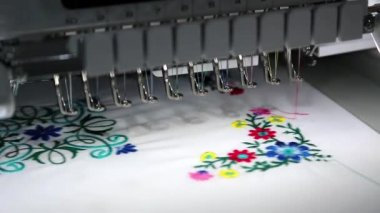 Computer programmable embroidery machine — Stock Video