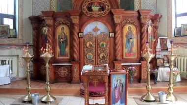 Interior of small orthodox church — Stock Video