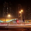 Stock Video: Dubai city traffic at night, United Arab Emirates