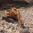 Stock Video: Big excavator operation in stone quarry