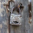 Old metal padlock — Stock Video