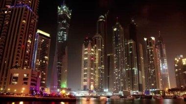 Magnificent Night Dubai Marina, United Arab Emirates — Stock Video
