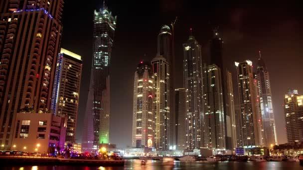 Magnifique nuit dubaï marina, émirats arabes unis — Vidéo