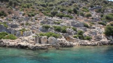 Simena - flooded ancient Lycian city.Kekova island.Ruins of antique architecture — Stock Video