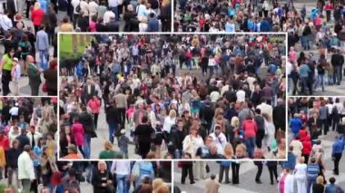Crowd of people montage — Stock Video