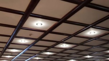 Counter ceiling with energy saving lamps — Stock Video