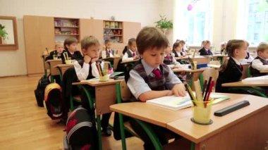 Schoolchilds in classroom — Stock Video