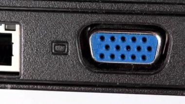 LAN and VGA sockets in laptop — Stock Video