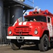 Stock Video: Red firetruck in fire department