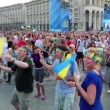 Stock Video: KIEV, UKRAINE, AUGUST 24, 2012: Dancing on holiday concert on Independence Square, dedicated to celebrating Independence Day in Kiev, Ukraine, August 24, 2012