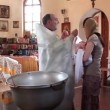 KIEV, UKRAINE, MAY 20, 2012: Christening of little baby in orthodox church. Infant baptism. Kiev, Ukraine, May 20, 2012 — Stock Video