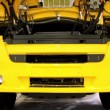 Stock Video: Engine jacket of yellow motor truck