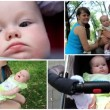 Montage of happy family mother, father and baby — Stock Video