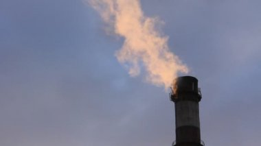 Smoke spews from an industrial smokestack — Vídeo de stock