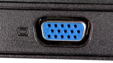 VGA and LAN sockets in laptop — Stock Video