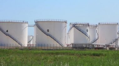 Oil storage tanks in Antalya, Turkey — Stock Video