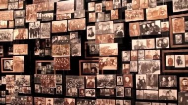 Wall with old photos — Stock Video
