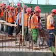 Team of workers at construction site — Stock Video