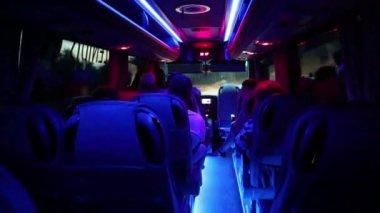 People inside salon of minibus — Stock Video