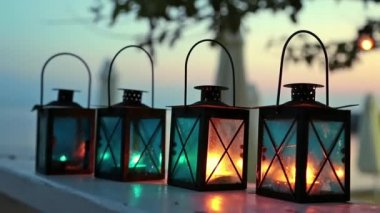 Four candle lamps — Stok video