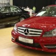 Red Mercedes-Benz C-class at automotive-show — Stock Video