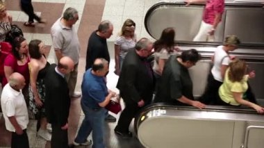 People on escalator inside Syntagma metro station in Athens, Greece — Stock Video