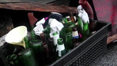 Bottles for Molotov cocktail — Stock Video