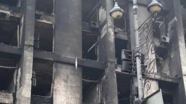 Burnt building of trade union on the Khreshchatyk — Vídeo Stock