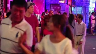 Walking Street is red-light district with many restaurants, go-go bars, brothels — Stock Video