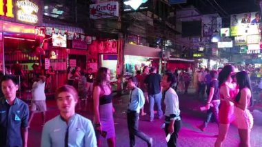 Walking Street is red-light district — Stock Video