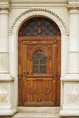 Carved wooden door — Stock Photo