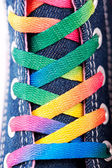 Closeup of a sneaker with colored shoelaces — Stock Photo