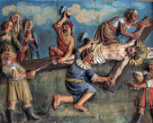 Crucifixion: Jesus is nailed to the cross — Stock Photo