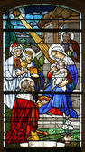 Nativity Scene, stained glass — Stock Photo