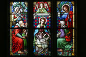 Nativity Scene, stained glass — 图库照片