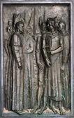 Detail dveří katedrály svatého jakuba v šibeniku, chorvatsko. seznam světového dědictví unesco — Stock fotografie