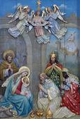 Scène de la nativité, l'adoration des mages — Photo