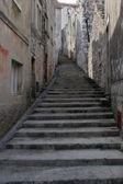 Scale di pietra vecchie strada in dalmazia, croazia. — Foto Stock