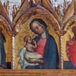 Virgin Mary with baby Jesus, St. Francis and St. Mary Magdalen — Stock Photo