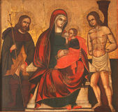 Virgin Mary with baby Jesus, Saint Roch and Saint Sebastian — Stock Photo