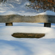 Foto Stock: Wooden bench covered with snow