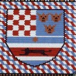 Coat of arms checkered tiled rooftop of St Mark, Zagreb — Stock Photo