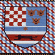 Coat of arms checkered tiled rooftop of St Mark, Zagreb — Foto Stock