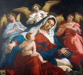 Blessed Virgin Mary with baby Jesus and angels — Stock Photo