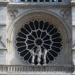 Rose window, Facade of Notre Dame de Paris — Stock Photo
